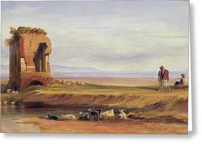 Shepherds Greeting Cards - Buon Ricovero In The Roman Campagna Greeting Card by Edward Lear