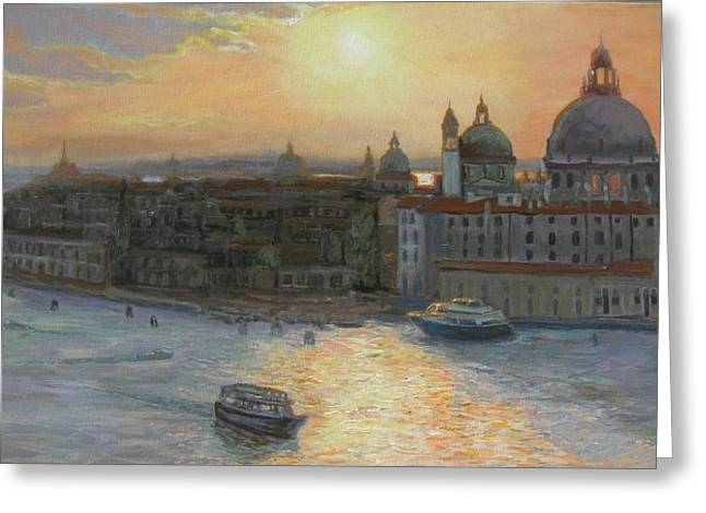 Recently Sold -  - Italian Sunset Greeting Cards - Buona Sera Venezia Greeting Card by Joanne Morris