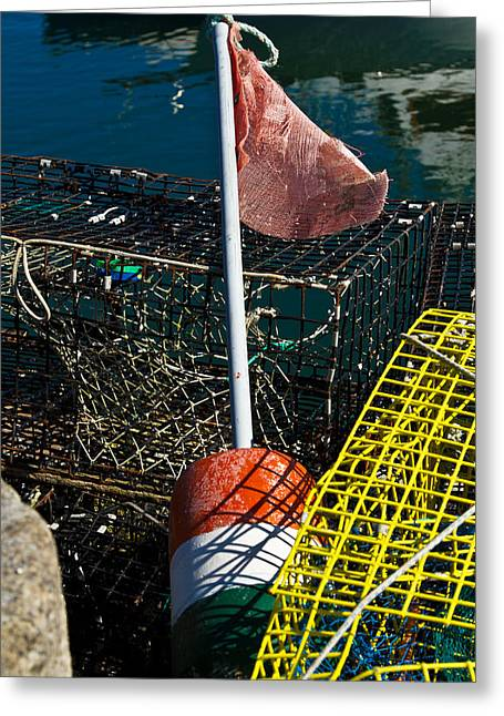 """""""crab Nets"""" Greeting Cards - Buoy and Crab Net Greeting Card by John Hoey"""