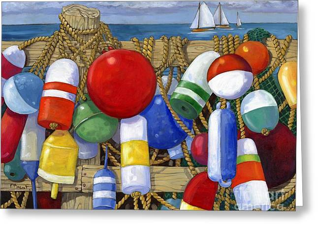 Blue Sailboat Greeting Cards - Buoy Composition Greeting Card by Paul Brent