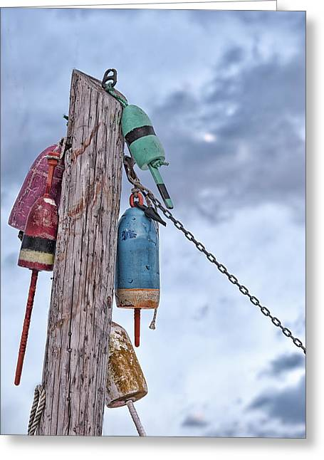 Lobster Post Greeting Cards - Buoy Hangouts Greeting Card by Richard Bean