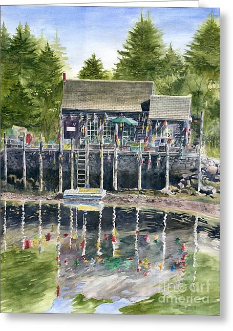 New England Village Greeting Cards - Buoy House Greeting Card by Melly Terpening