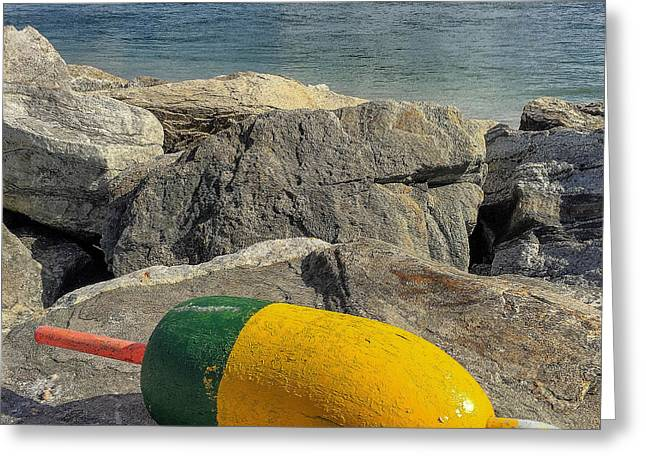 Maine Shore Greeting Cards - Buoy on the Rocks Greeting Card by Joe Far Photos
