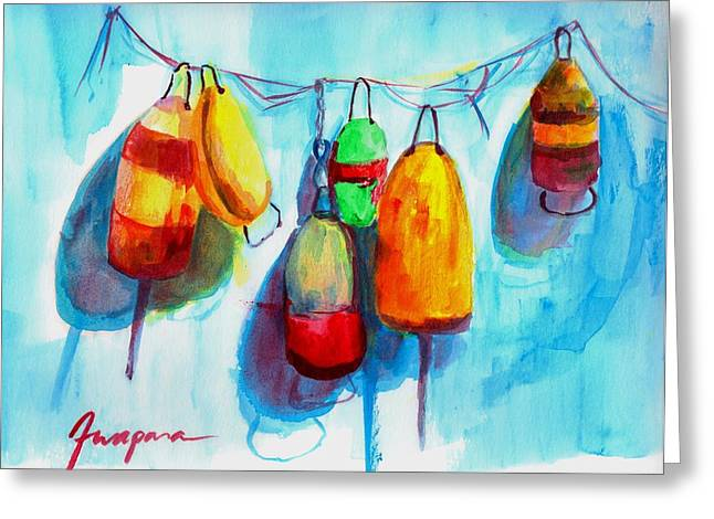 Beach House Decor Posters Greeting Cards - Colorful Buoys Greeting Card by Patricia Awapara