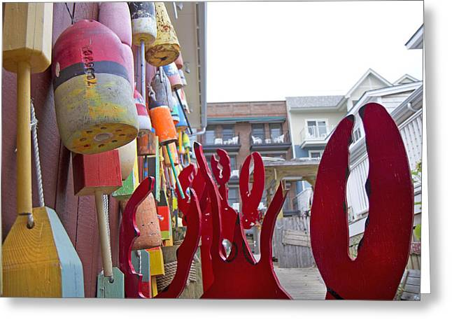 Lobster Bouys Greeting Cards - Buoys and Lobster Claws Greeting Card by Betsy A  Cutler