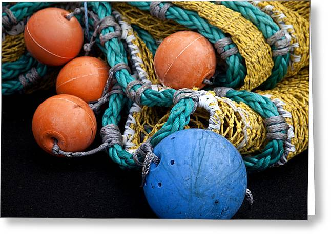 Fishnets Greeting Cards - Buoys and Nets Greeting Card by Carol Leigh