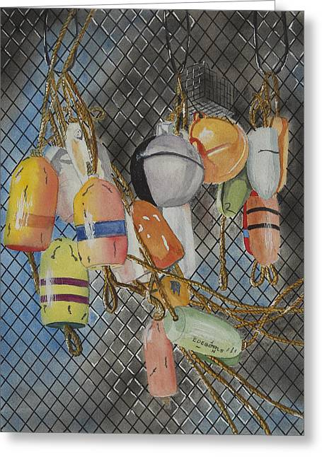 Netting Paintings Greeting Cards - Buoys and Netting Greeting Card by John Edebohls