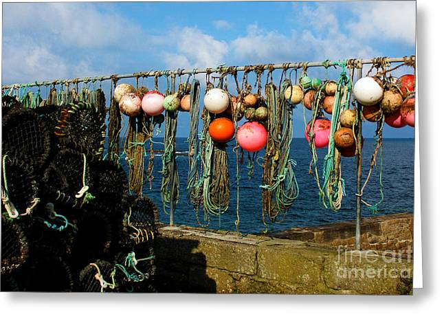 Buoys and Pots in Sennen Cove Greeting Card by Terri  Waters