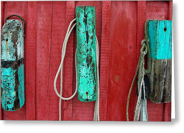Red Fishing Shack Greeting Cards - Buoys at Rockport Motif Number One Greeting Card by Jon Holiday