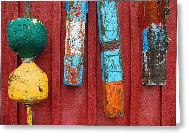 Buoys at Rockport Motif Number One Lobster Shack Maritime Greeting Card by Jon Holiday