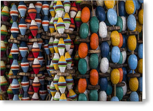 Ocean Art. Beach Decor Greeting Cards - Buoys Greeting Card by Debra and Dave Vanderlaan