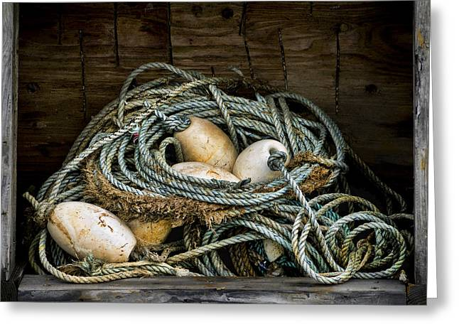 Ropes Greeting Cards - Buoys in a Box Greeting Card by Carol Leigh