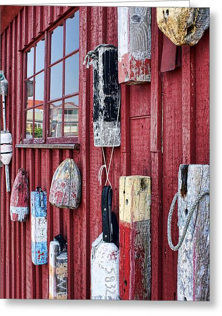 Rockport Ma Greeting Cards - Buoys on Motif 1 Greeting Card by Nikolyn McDonald
