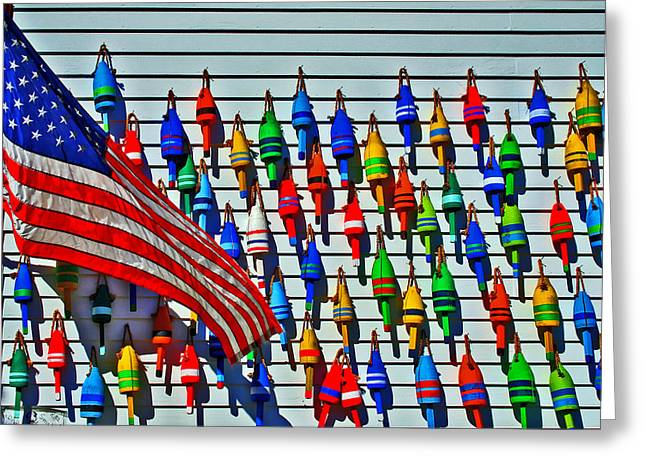 Maine Icons Greeting Cards - Buoys On The Wall Greeting Card by Murray Dellow