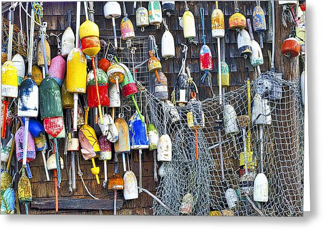 Cape Neddick Greeting Cards - Buoys on Wall - Cape Neddick - Maine Greeting Card by Steven Ralser