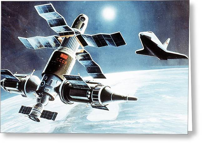 Space Shuttle Mixed Media Greeting Cards - Buran approaching a manned space complex Greeting Card by Tilen Hrovatic