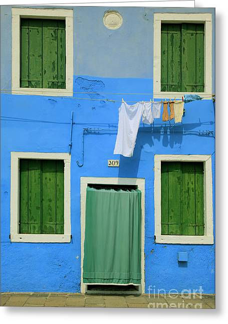 Mediterranean Landscape Greeting Cards - Burano Blue and Green Greeting Card by Inge Johnsson