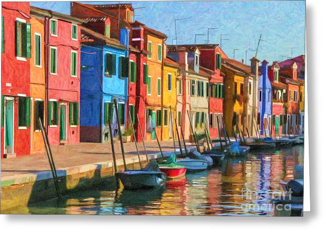 Venice Greeting Cards - Burano canal Greeting Card by Liz Leyden