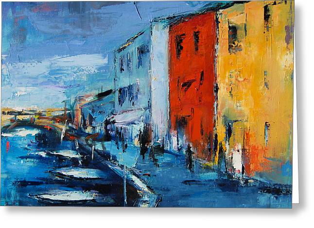 Square Format Greeting Cards - Burano Canal - Venice Greeting Card by Elise Palmigiani