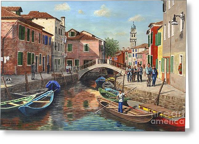 Venice Travel Greeting Cards - Burano Canal Venice Greeting Card by MGL Meiklejohn Graphics Licensing