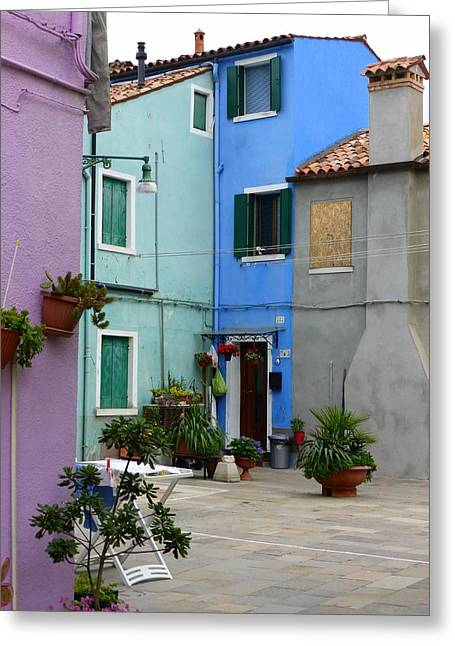 Venice Greeting Cards - Burano Courtyard Greeting Card by Bishopston Fine Art