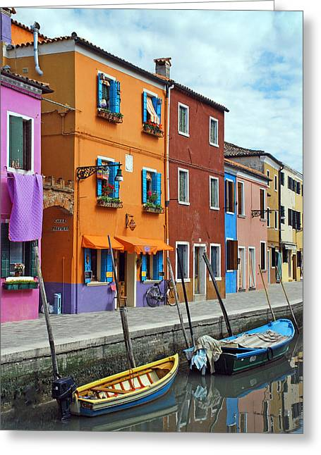 Paintbox Greeting Cards - Burano Italy Greeting Card by Elaine Walsh