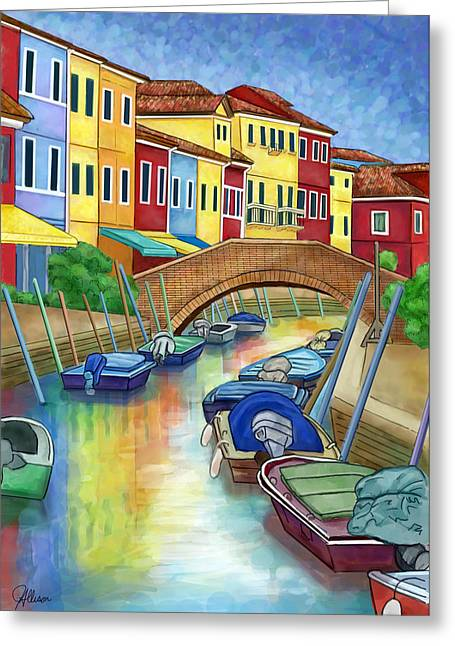 Small Towns Drawings Greeting Cards - Colorful Burano Italy Greeting Card by Jennifer Allison