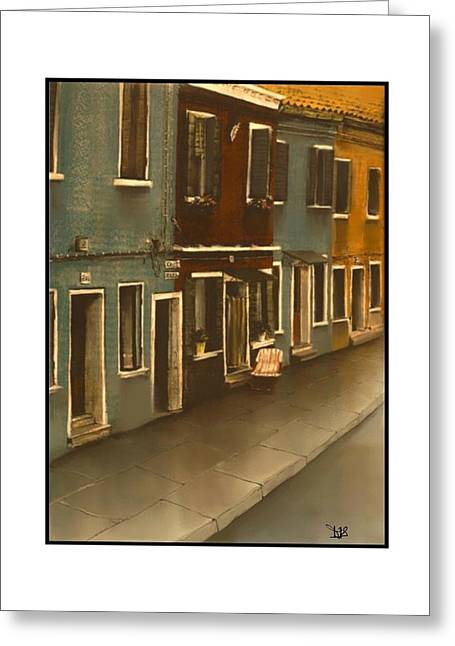 Europe Mixed Media Greeting Cards - Burano Italy   No 19 Greeting Card by Diane Strain
