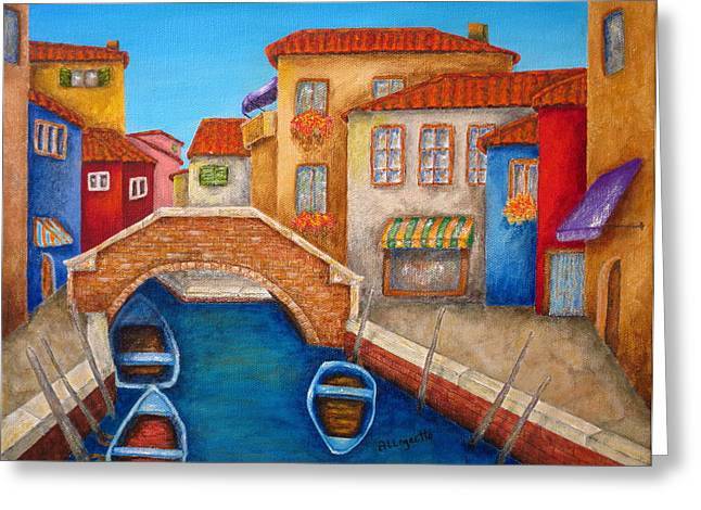 Italian Mediterranean Art Greeting Cards - Burano Greeting Card by Pamela Allegretto