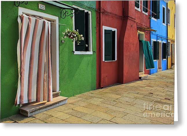 Picturesque Greeting Cards - Burano Street Greeting Card by Inge Johnsson