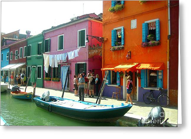 Art By Frederick Luff Greeting Cards - Burano Tourists Greeting Card by Europe  Travel Gallery