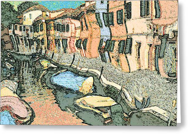 White Frame House Mixed Media Greeting Cards - Burano Canal - Expressionistic Painting Greeting Card by Peter Fine Art Gallery  - Paintings Photos Digital Art