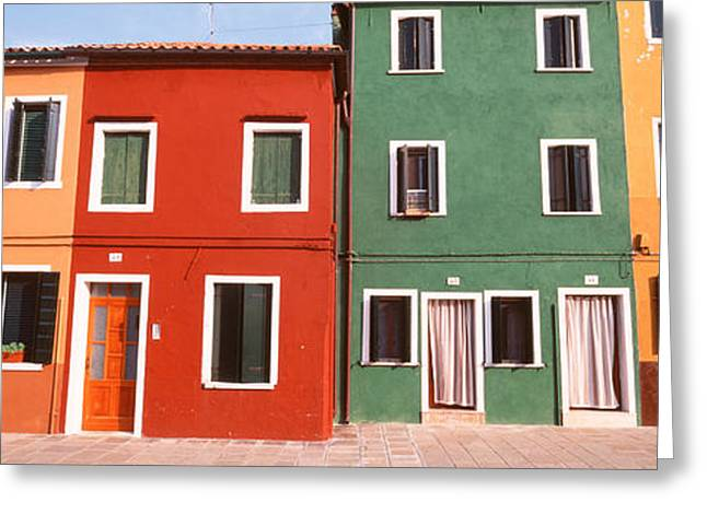Brightly Colored Greeting Cards - Burano, Venice, Italy Greeting Card by Panoramic Images