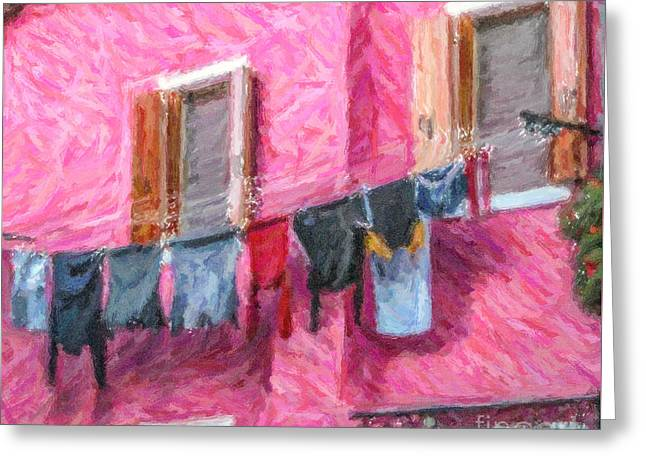 Venezia Greeting Cards - Burano washing line Venice Italy Greeting Card by Liz Leyden