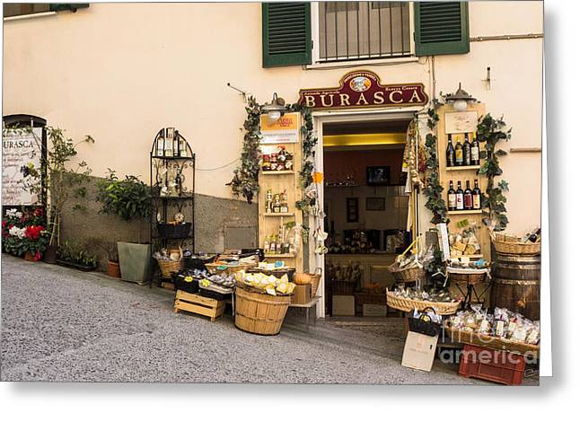 Incline Greeting Cards - Burasca Shop of Manarola Greeting Card by Prints of Italy