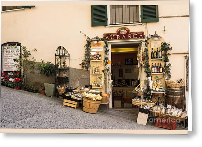 Burasca Shop Of Manarola Greeting Card by Prints of Italy