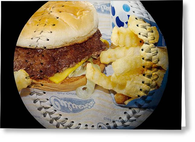 French Fries Greeting Cards - Burger And Fries Baseball Square Greeting Card by Andee Design