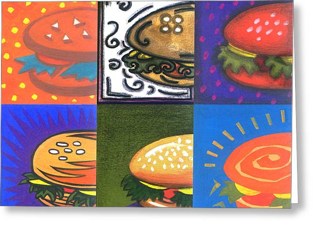 Fast Food Mixed Media Greeting Cards - Burger Joint Greeting Card by Renu K