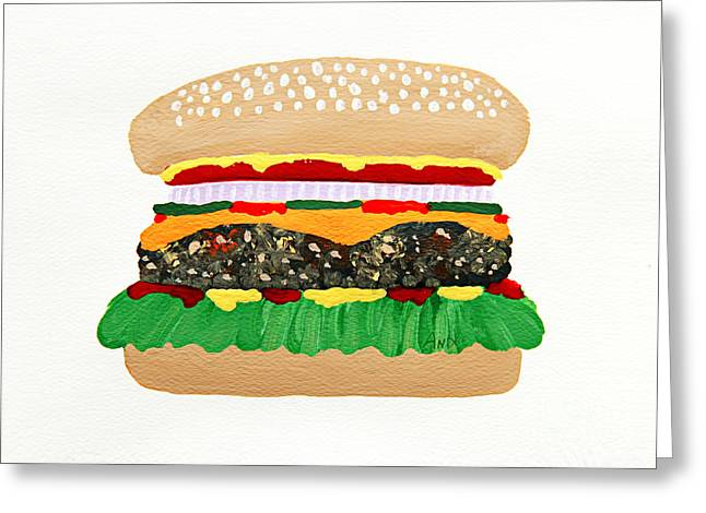 Cheeseburger Paintings Greeting Cards - Burger Me Greeting Card by Andee Design