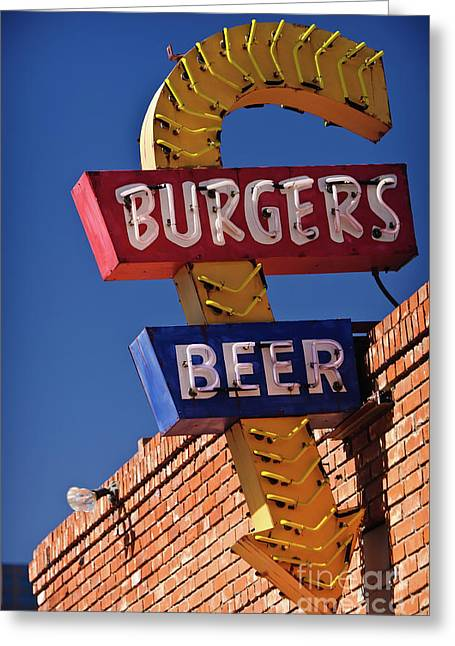Best Sellers Photographs Greeting Cards - Burgers and Beer Greeting Card by Charles Dobbs