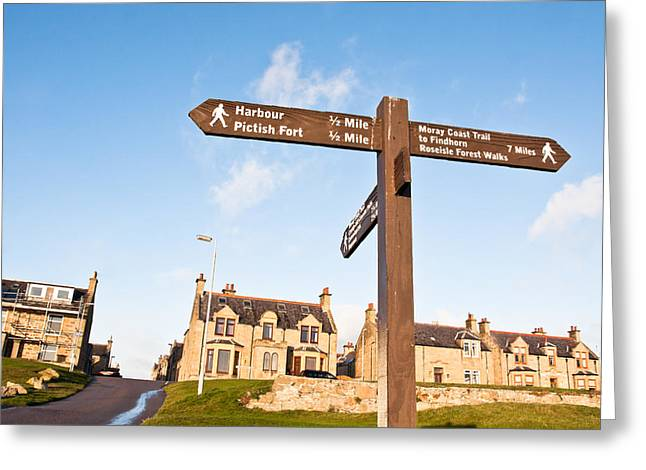 Sea Route Greeting Cards - Burghead signpost Greeting Card by Tom Gowanlock