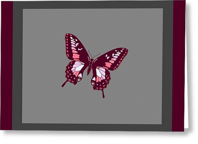 Consume Mixed Media Greeting Cards - Burgundy Butterfly Grey Background 2 Borders Greeting Card by L Brown