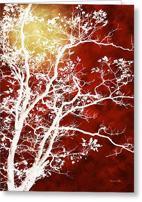 Burgundy Tree Art Greeting Card by Christina Rollo