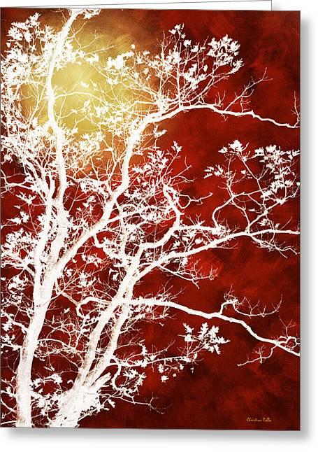 Burgundy Mixed Media Greeting Cards - Burgundy Tree Art Greeting Card by Christina Rollo