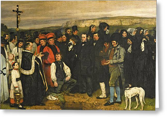 Funeral Greeting Cards - Burial At Ornans, 1849-50 Oil On Canvas Greeting Card by Gustave Courbet