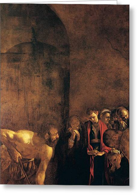 Michelangelo Caravaggio Greeting Cards - Burial of St Lucy Greeting Card by Caravaggio