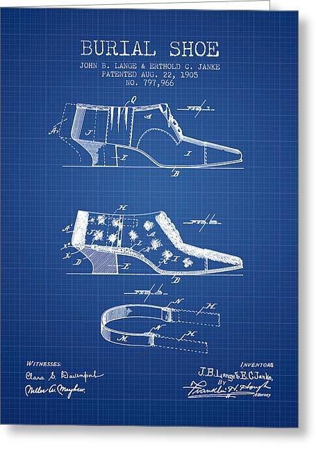 High Heeled Digital Art Greeting Cards - Burial Shoe Patent from 1905 - Blueprint Greeting Card by Aged Pixel