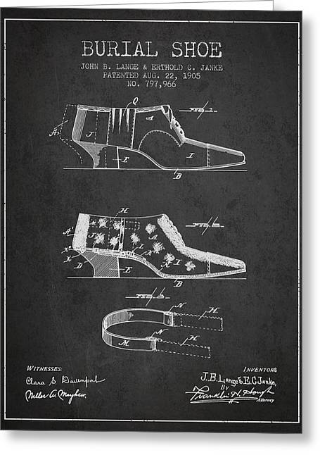 High Heeled Digital Art Greeting Cards - Burial Shoe Patent from 1905 - Charcoal Greeting Card by Aged Pixel