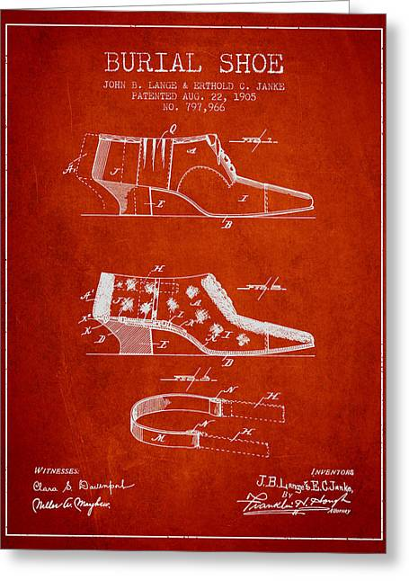High Heeled Digital Art Greeting Cards - Burial Shoe Patent from 1905 - Red Greeting Card by Aged Pixel