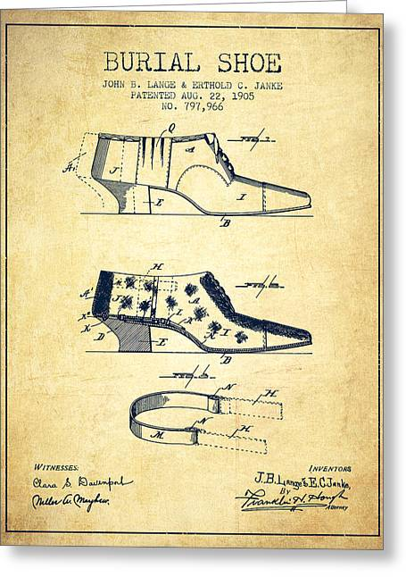 High Heeled Digital Art Greeting Cards - Burial Shoe Patent from 1905 - Vintage Greeting Card by Aged Pixel